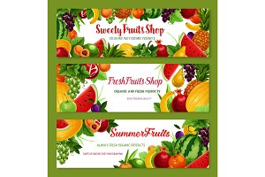 Vector fruit shop banners of fresh natural fruits