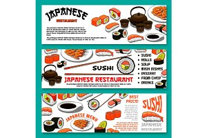 Japanese cuisine or sushi vector menu banners set