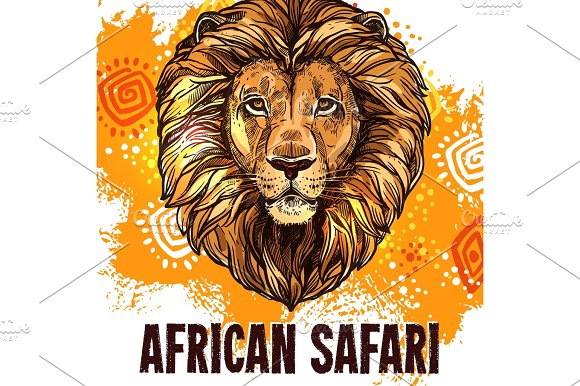 African Lion Poster Safari Hunting Vector Poster
