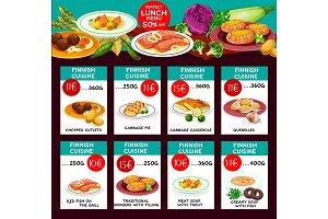 Finnish cuisine vector menu price cards template