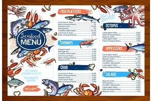 Vector menu for seafood or fish seafood restaurant
