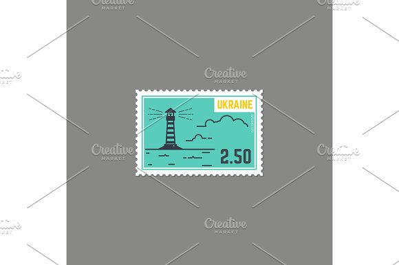 Country Lighthouse Postage Stamp