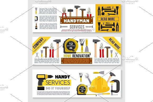 House Repair Banner Set Ot Construction Work Tools