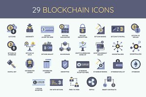 Bitcoin & Blockchain Icon Set