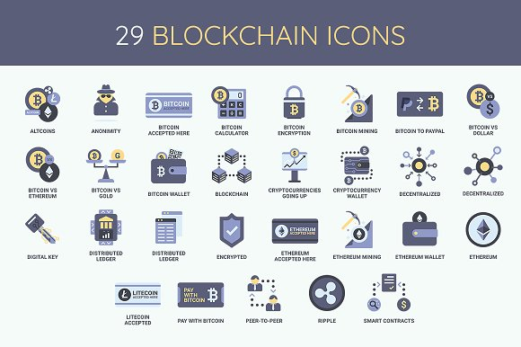 Bitcoin Blockchain Icon Set