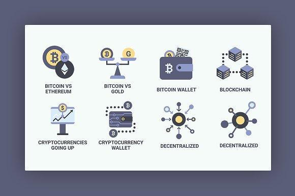 Bitcoin Blockchain Icon Set Icons Creative Market