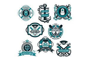 Vector icons set of nautical and marine symbols