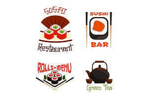 Vector icons for sushi bar or Japanese restaurant
