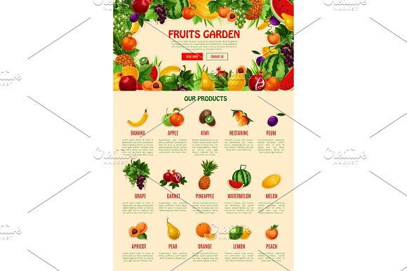 Vector Landing Web Page Template For Fruit Shop