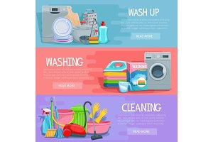 Vector banners for home cleaning and washing