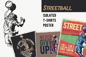 Streetball T-shirt And Poster Labels