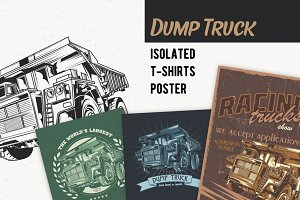 Dump Truck T-shirt And Poster Labels