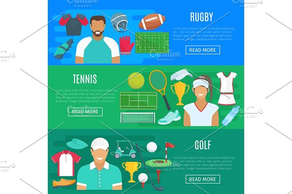 Vector Banners For Rugby Tennis And Golf Sport