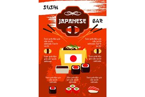 Vector poster for sushi bar or Japanese restaurant