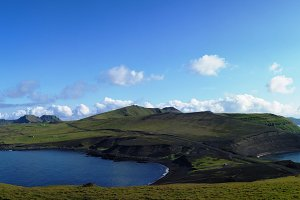 Panorama of Heimaey island, Vestmannaeyjar archipelago