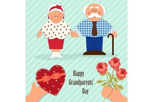 Cute Grandparents Day card with funny characters of Grandfather and Grandmother