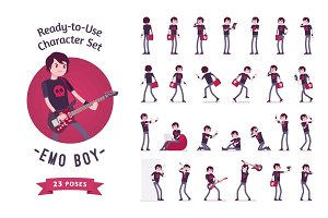 Ready-to-use emo boy character set, various poses and emotions