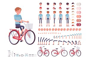 Young man cycling city bike. Character creation set