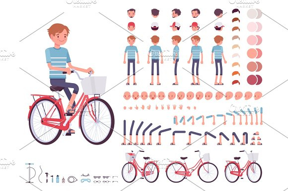 Young Man Cycling City Bike Character Creation Set