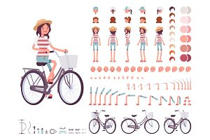 Young woman cycling city bike. Character creation set
