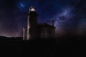 Lighthouse Under the Stars