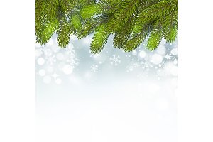 Christmas background with snow and branches