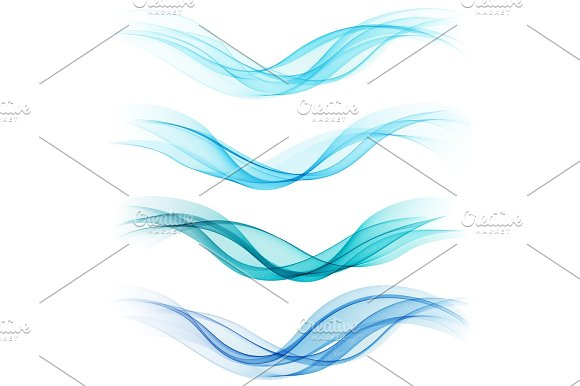 Set Of Abstract Blue Waves Vector Illustration