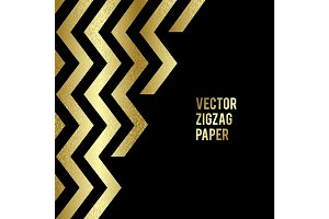 Banner design. Abstract template background with gold zigzag shapes.