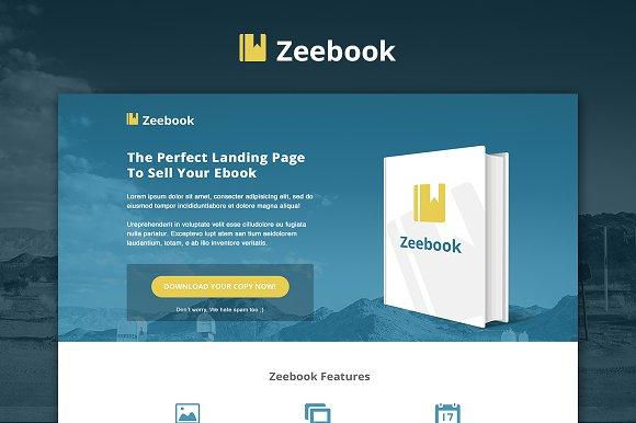 zeebook ebook psd landing page website templates creative market. Black Bedroom Furniture Sets. Home Design Ideas