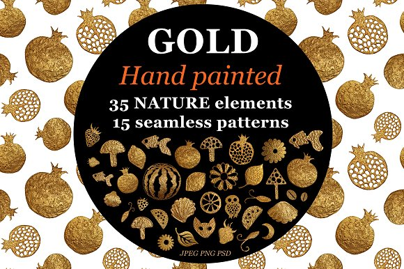 GOLD Hand Painted NATURE Patterns