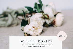 White peonies film look stock photos