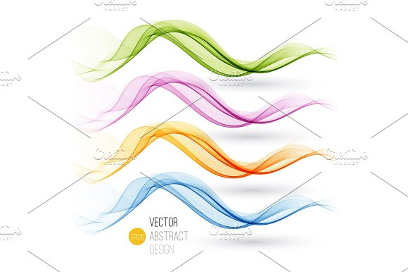 Set Of Abstract Waves Vector Illustration