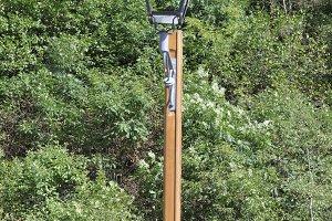 wooden lamppost