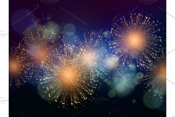 Vector Holiday Fireworks Background