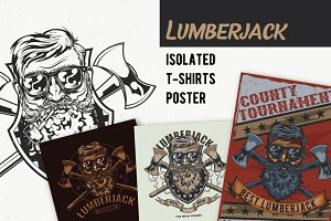 Lumberjack T-shirt And Poster Labels