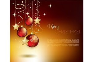 Merry Christmas gold greeting  card with bauble