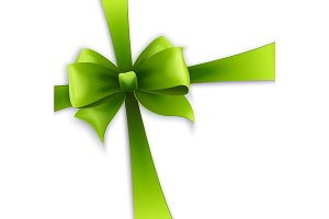 Invitation card with Green holiday ribbon and bow