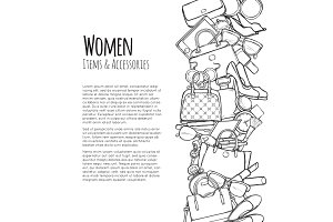 Women Items and Accessories Web Banner. Colourless