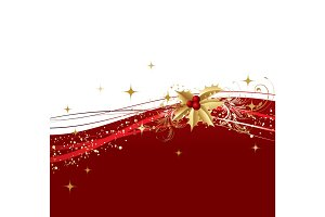 Merry Christmas  card with  gold holly