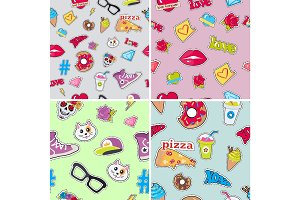 Seamless Patterns Set with Patch Objects for Teens