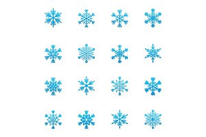 Set of blue snowflakes icon