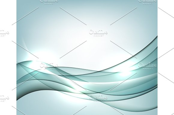 Blue Vector Template Abstract Background With Transparent Curves Lines For Flyer Brochure Booklet And Websites Design