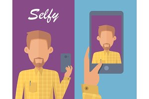 Man with Beard Making Selfie