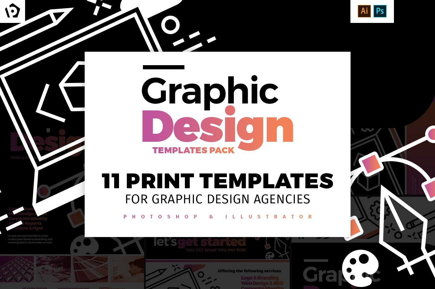 Graphic design agency templates pack flyer templates for Graphic design agency