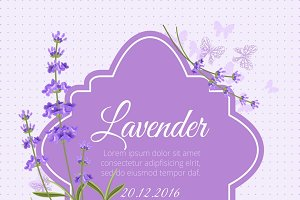 Greeting card with fragrant lavender