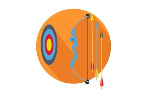 Arrow with Target Icon Button Archery Sign, Symbol