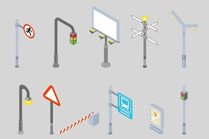 Isometric traffic management icons