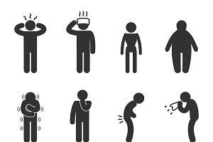 Symptoms of people disease icons