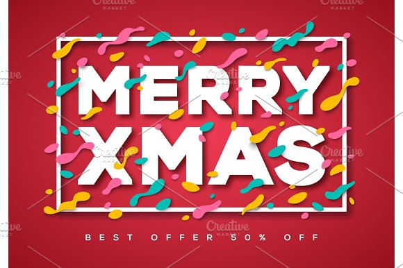 Merry Xmas Typography Design With Abstract Shapes