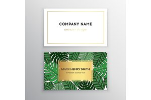 Business cards gold design, tropical leaf. Vector illustration. Corporate identity templates in tropical style